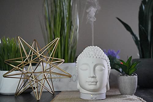 Buddha Head Ceramic Essential Oil Diffuser for Home Office Living Room Bedroom RGB LED Lights 100ml Time Setting 10sec 1h 2h Whisper Quiet Aroma Therapy Meditation Yoga Spa