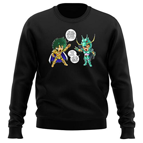 Okiwoki Pull Noir Parodie Saint Seiya - Shura Chevalier d'or du Capricorne et Shiryu du Dragon - J't'AI cassé là ! (Sweatshirt de qualité Premium de Taille L - imprimé en France)