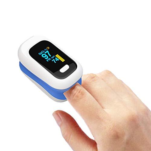 GOAIJFEN Pulsossimetro Pulsossimetro Digitale Misuratore di Ossigeno nel Sangue Misuratore di spegnimento Automatico e Lettura Veloce per l'assistenza Sanitaria,Blue-OneSize