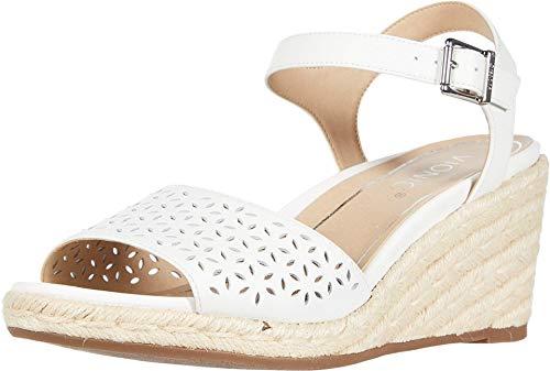 Vionic Women's Tulum Ariel Wedge Sandal - Ladies Espadrille Sandals Concealed Orthotic Support White 9.5 M US