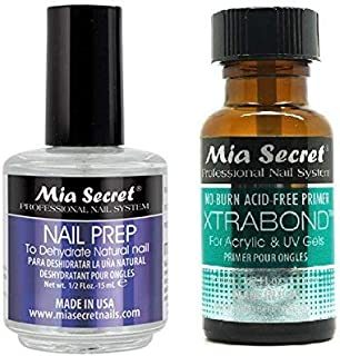 Mia Secret Professional Natural Nail Prep Dehydrate and Xtra Bond Primer 0.5 Ounce