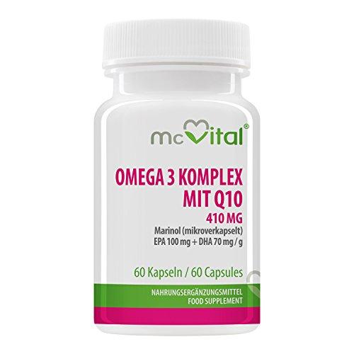McVital Omega 3 Komplex mit Q10 • 410 mg • 60 Kapseln • EPA & DHA • Mikroverkapselt • Made in Germany