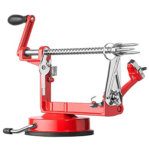 Apple Peeler And Corer,Table Top Apple Potato Peeler Corer Slicer Suction Base With Clamp,Stainless Steel Hand-Cranking Durable Heavy Duty Apple Peeler (Red)