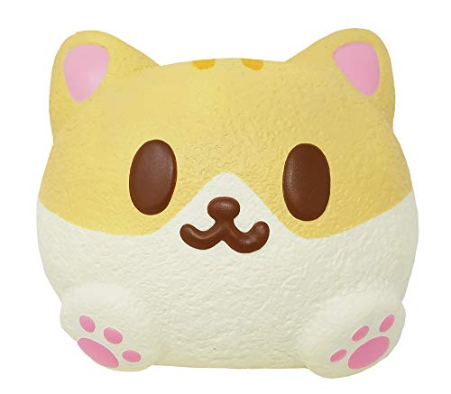 ibloom Kitty Pan Cat Cute Slow Rising Jumbo Squishy Toy (Cannelle, Bread Scented, 6 Inch) for Party Favors, Stress Balls, Birthday Gift Boxes, Kawaii Squishies for Kids, Girls, Boys, Adults