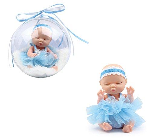 Brigamo ❀ Doll Surprise,süße Mini Baby Puppe mit Flauschiger Felldecke in der Deko Kugel (blau)