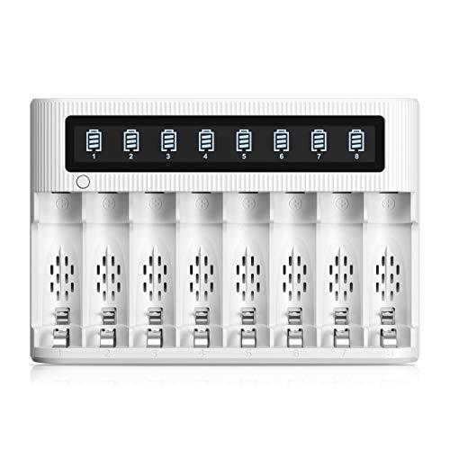 EBL Cargador de batería LCD de 8 Ranuras para baterías Recargables AA AAA Ni-MH con función de Descarga, Entrada Tipo C y Micro USB