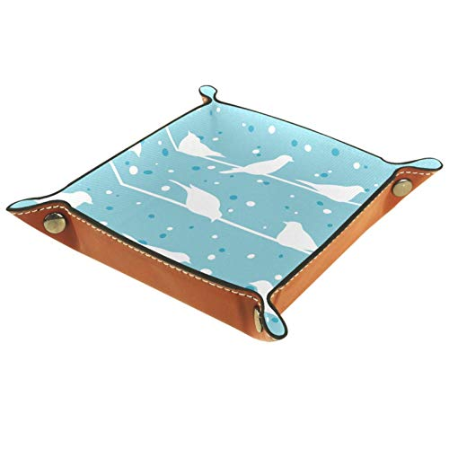 Bandeja de Cuero - Organizador - Pájaro en un cable en invierno fondo azul - Práctica Caja de Almacenamiento para Carteras,Relojes,llaves,Monedas,Teléfonos Celulares y Equipos de Oficina