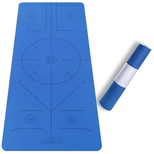 CAMBIVO Yogamatte, Gymnastikmatte extra breit(183cm x 81cm x 6mm), rutschfeste TPE Fitnessmatte Sportmatte Hilfslinien für Gym, Yoga, Pilates, Workout, Sport