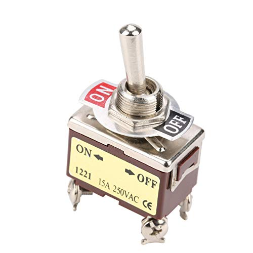LANTRO JS - Interruptor de palanca de 2 posiciones y 4 pines, 12 mm ON-OFF Interruptor de palanca de 2 posiciones y 4 pines, 15A 250VAC