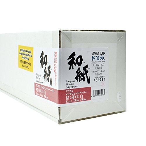 Awagami Kozo Fine Art Inkjet Papier, 70 g/m², 43,2 cm, Weiß x 49 ft. Rolle 1 Rolle 44 in. x 49 ft.
