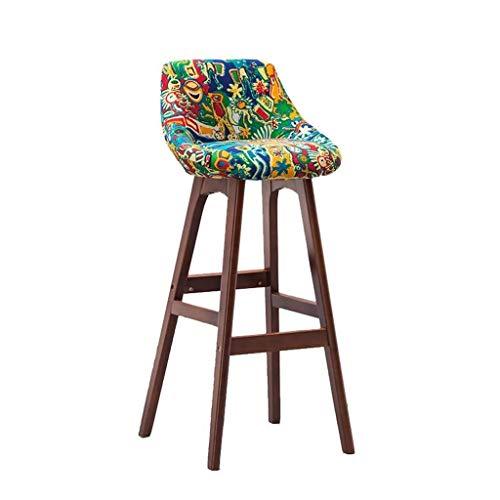 Tabouret de bar en bois marron - Tabouret haut pour petit-déjeuner, salle à manger, cuisine, bar, comptoir, chaise commerciale avec dossier et coussin en tissu vert - Style épuré