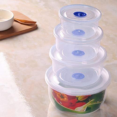 Recipiente de almacenamiento de alimentos, un recipiente de almacenamiento de alimentos reutilizable, que se utiliza para conservar la frescura para almacenar pescado, carne y verduras. (4 piezas)