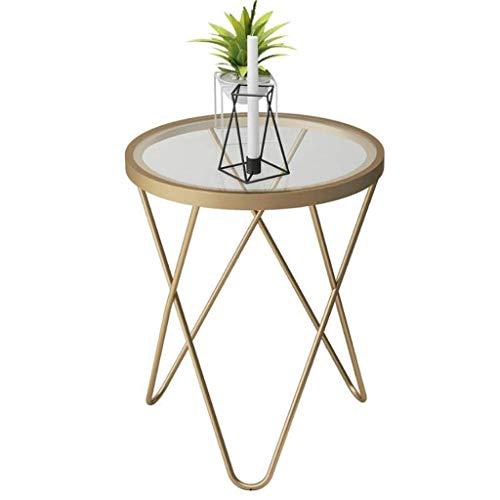 N/Z Living Equipment Table d'appoint Ronde Table d'appoint en Verre trempé avec Cadre en métal doré Petite Table Basse Table de Chevet Salon Balcon Robuste et Stable décoratif (Couleur: Or)