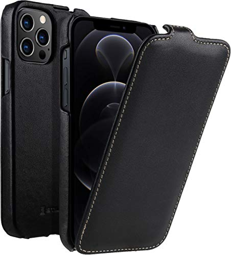 "StilGut UltraSlim kompatibel mit iPhone 12 Pro Max (6.7"") Hülle - iPhone 12 Pro Max Flip Hülle aus Leder, Klapphülle, Handyhülle, Lederhülle - Schwarz Nappa"