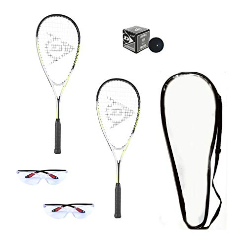 DUNLOP Beginner Squash Racquet Set (Includes 2 Racquets, 2 Eyeguards, 1 Ball, Cover) (Beginner)