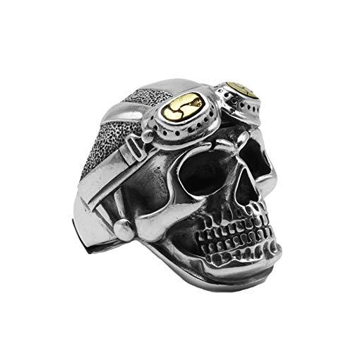 XIAOLIAN Ring S925 Sterling Silver Male Personality World War II Pilot Skull Thai Silver Immortal Soul