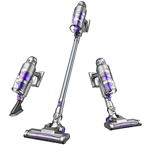 Hosome Cordless Vacuum Cleaner 3 in 1 Stick Vacuum 21Kpa Powerful Suction,Handheld Vacuum Cleaner with Wall Mount and HEPA Efficient Cleaning for Floor Carpet Pet Hair Car, Up to 40 Mins Working Time