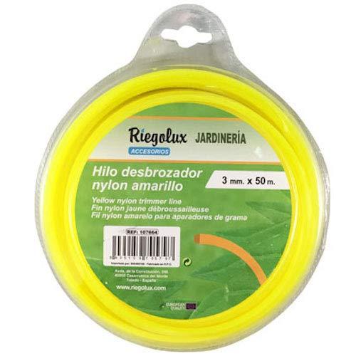 Riegolux 107664 Hilo Desbrozadora Nylon Cuadrada, Amarillo, 3 mm x 50 m