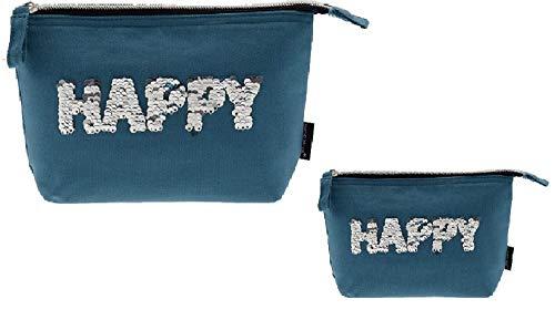 Incidence- Lot de 2 Trousse de Toilette en Sequins Coton - Happy - Couleur Bleu - (20x16cm/ 21x29 cm)