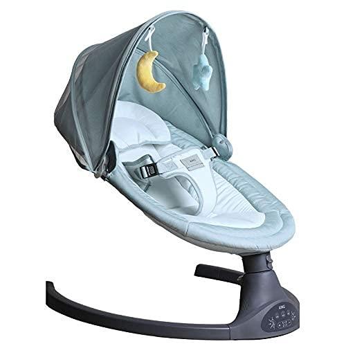 Silla de swing de bebé, silla de rockero ajustable de 5 engranajes con Bluetooth/Música de control remoto Requerido Bouncer para el niño pequeño recién nacido, gris WDH666