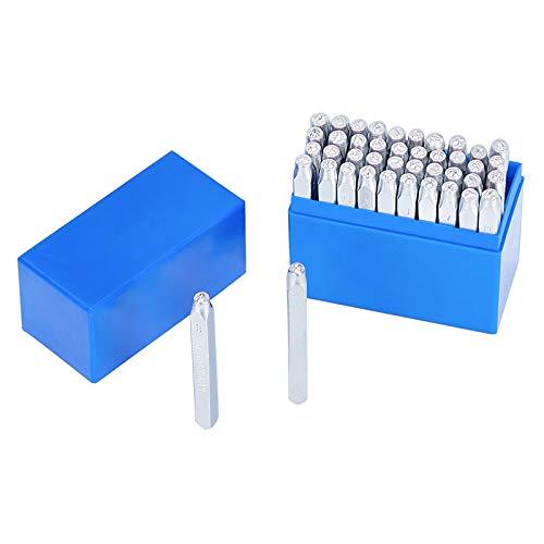PandaHall 42pz Lettera e Numero Set di timbri in Metallo 1/8' 3mm Alfabeto dalla A a Z e Numero da 0 a 9 Simboli amorosi Ferro Maiuscolo Timbri Punch Press Strumento per Imprinting Gioielli Metallo