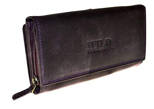 Portemonnaie Damen Wild Leder Geldbeutel mit 24 Kartenfächern in 7 Farben RFID (Lila)