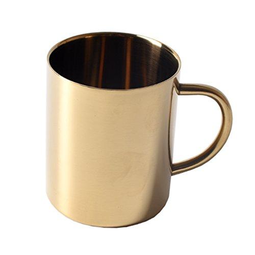 Sharplace Edelstahl Bierkrug Tee Tasse Kaffeetasse Reise Wandern Becher 400ml Mit Handgriff - Gold, 400ml