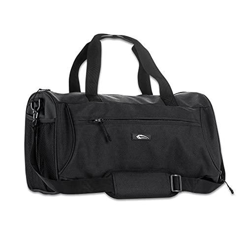 SMILODOX Premium Sports Bag - Fitness & Travel | Bolsa de entrenamiento con muchos compartimentos que transportan correa y correa de hombro bolsa de deportes, Color:Negro