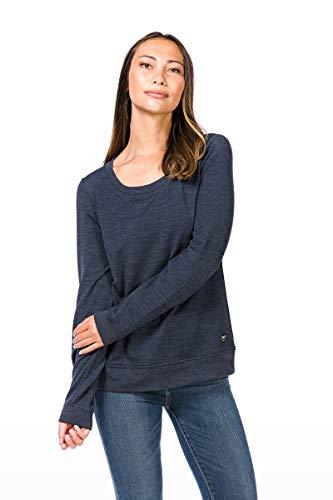 super.natural Bequemer Damen Pullover, Mit Merinowolle, W ESSENTIAL CREW NECK, Größe: S, Farbe: Dunkelblau