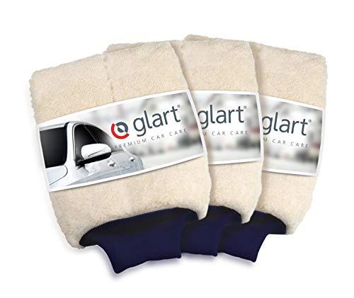 Glart 44WH 3er Set Premium Mikrofaser Waschhandschuh für Autopflege Autowäsche vor Autopolitur, besser als Felgenbürste oder Mikrofasertücher Waschset