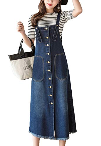 Flygo Womens Button Front Midi Long Denim Jean Jumpers Overall Pinafore Dress Skirt (US 12, Blue)