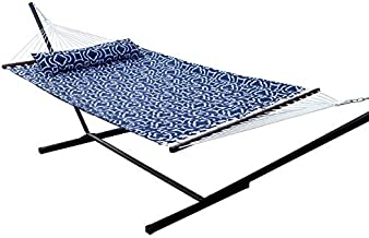 SUNNY GUARD 12.8 FT Hammock with Stand 2 Person Heavy Duty,Quilted Fabric Wood Spreader Bars,Stands & Accessories,for Indoor/Outdoor Patio Navy Blue(450 lb Capacity