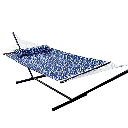 SUNNY GUARD 12.8 FT Hammock with Stand 2 Person Heavy Duty,Quilted Fabric Wood Spreader...