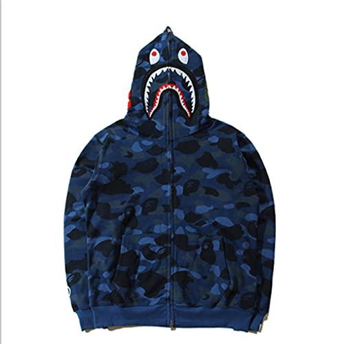 Herren Anime Hoodie Bape Youth Hoodie für Hai-Affe Camo Jacke Full Zip Up Fashion Paare Street Wear Unisex Damen Sweatshirt fluoreszierend -blau _M