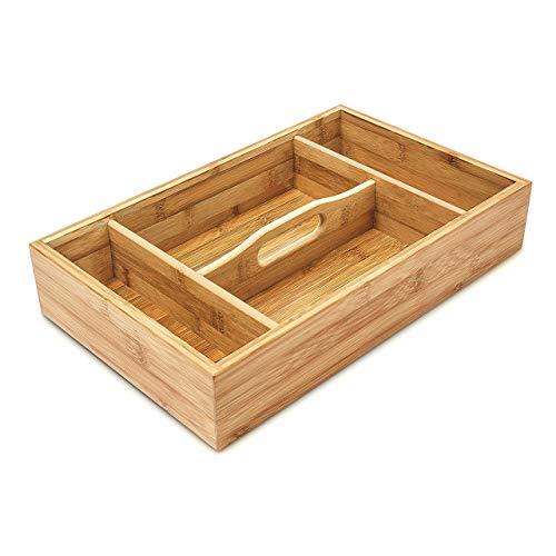 Relaxdays Besteckkasten mit Tragegriff H x B x T: ca. 7 x 23 x 37cm Besteckeinsatz aus Bambus mit 4 Fächern als Küchenorganizer und Besteckbox ideal für Buffets pflegeleichter Schubladeneinsatz, natur