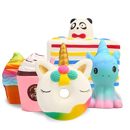 Squishy Spielzeug ,【5 Stück】 Squeeze Toys Kawaii Party Geschenke für Kinder,Pomisty Einhorn Frappuccino EIS Kuchen Squeeze Stress Langsam Dekompression Creme für Kinder Erwachsene Mädchen Jungen