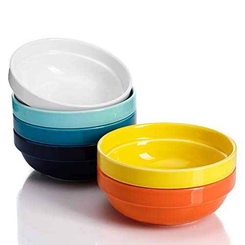 Sweese 119.002 Porcelain Stackable Bowls - 20 Ounce for Cereal, Salad - Set of 6, Hot Assorted Colors