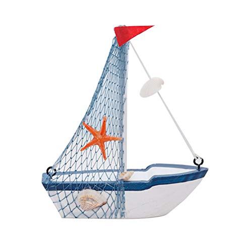 VOSAREA Holz Segelboote Modell mit Fischernetz Stern Muschel´Rot Fahne Nautische Maritime Deko Home Ornament Tisch Deko