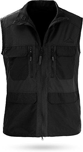 normani Outdoor Weste Freizeitweste Safariweste mit Sonnenschutz 50+ und vielen praktischen Taschen Farbe Schwarz Größe S