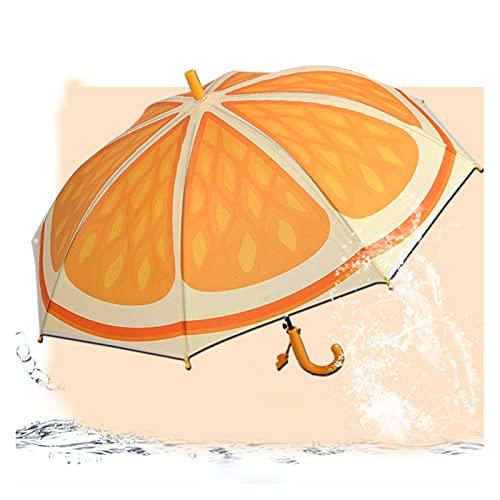 Paraguas De Fruta Encantadora Novedad Artículo Niño Niño Soleado Lluvioso Paraguas Al Aire Libre A Prueba De Viento Fuerte Princesa Princesa Paraguas (Color : Orange)