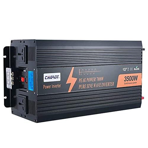 XOBO Inversor de Corriente de 3500W DC 12V / 24V / 48V a AC 110V / 220V convertidor de automóvil con Pantalla LCD 2 Tomas de Corriente y Puerto USB (Potencia máxima 6000W) 12Vto220V