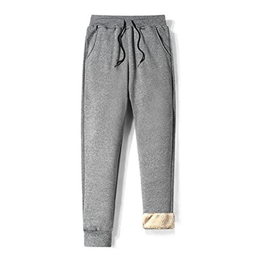 SKYWPOJU Pantalones de vellón térmico para Hombres Pantalones de Ocio engrosados y Forrados...