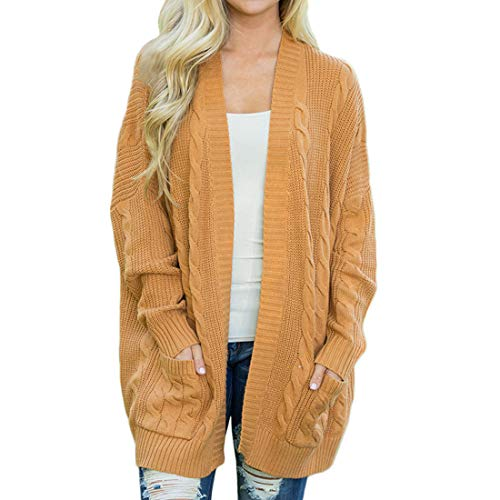 YUPENG Cardigan Women's Casual Fashion Texture Warm Cardigan Winter New Elegant Temperament Long Solid Color Casual Coat Open Front Sweater with Pockets L
