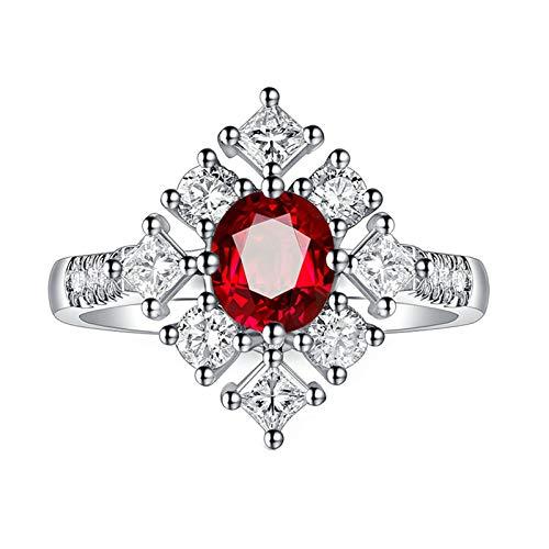 Bishilin Anillos de Oro Blanco 750 Alianza de Boda de 18K Clásico Bandas de Boda Rojo Rubí Diamante Anillo de Compromiso Marrige Forma Ovalada Regalos para El Aniversario de Navidad Rojo