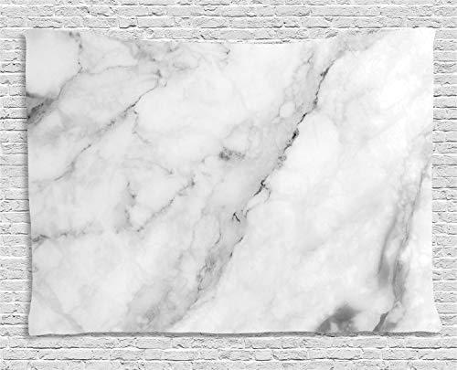 ABAKUHAUS Marmor Wandteppich, Granit Oberflächenmotiv, Wohnzimmer Schlafzimmer Heim Seidiges Satin Wandteppich, 150 x 100 cm, Weiß Grau Sand