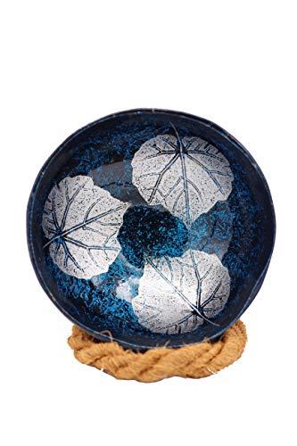 Meer Coco® Blaue Deko Schale aus echter Kokosnuss Schale, Ideal als Schmuck-, Schlüssel-, und Bowl Schüssel, Geschenk Set je 1 x Kokosnussschale + Kokosnuss Schüssel Halter - Blätter blau Silber