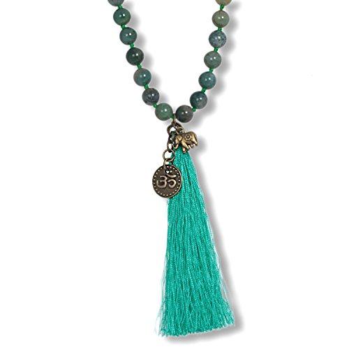 Anisch de la Cara Mujeres Cadena Collar de ágata de Musgo Well Being de Piedras Preciosas con Borla, 80 cm Well Being - Arte no 2410-h