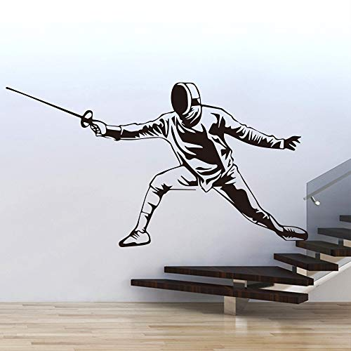 Ajcwhml Schwertkämpfer Fechten Wandtattoos Aufkleber Wand Fechten Feld Dekoration Wohnzimmer Zubehör Vinyl Tapete