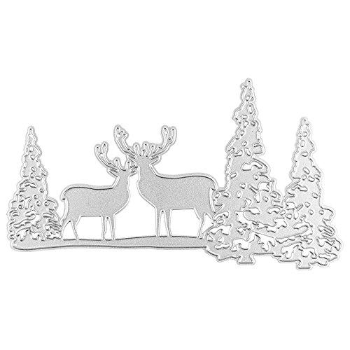 Fustella, Cervo nella foresta, 14,7cm x 7,9cm, adatto per gaengige Stanz macchine | scheda Stencil per personalizzare di Centri, ciondoli, biglietti d' auguri | invernale, tempo di Natale, avvento | foresta, Caccia