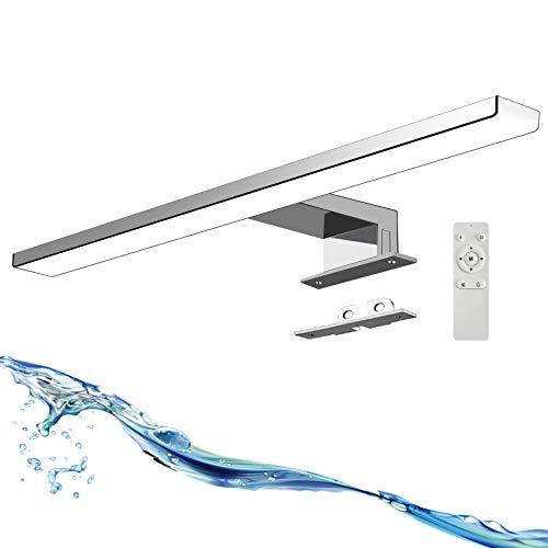 UFLIZOGH LED Spiegelleuchte, Spiegel mit beleuchtung für Badzimmer und Wandbeleuchtung, Badezimmer lampe 40cm 12W 1200LM IP44 mit Remote Edelstahl Neutral Weiß & Warm No Flicker Badespiegellampe